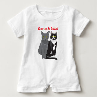 George & Lucas cats baby romper