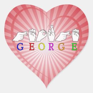 GEORGE NAME FINGERSPELLED ASL HAND SIGN HEART STICKER
