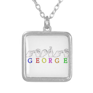 GEORGE NAME FINGERSPELLED ASL HAND SIGN NECKLACES