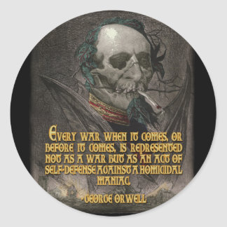 George Orwell Quote on Wartime Propaganda Round Sticker