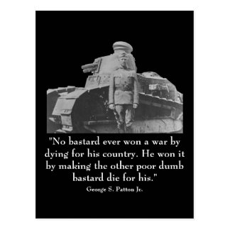 George Patton and Quote Postcard