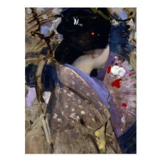 George resistente - señora japonesa con una fan tarjetas postales