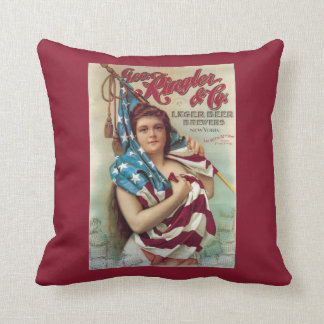 George Ringler & CO. Beer Poster Throw Pillow