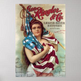 George Ringler y poster de la cerveza del CO.