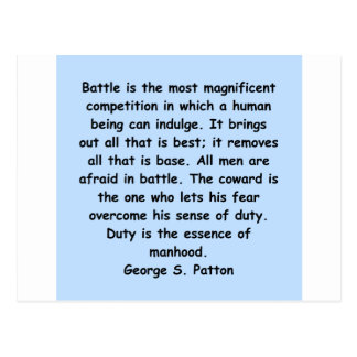 george s patton quote postcard