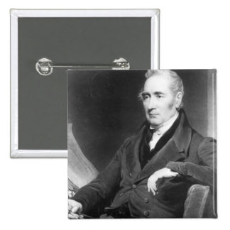 George Stephenson, engraved by Charles Turner 2 Inch Square Button