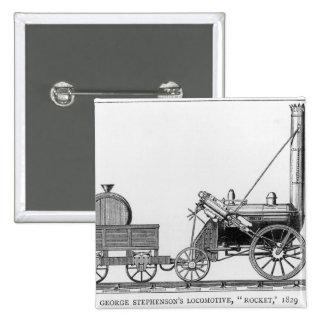 George Stephenson's Locomotive, 'Rocket', 1829 2 Inch Square Button