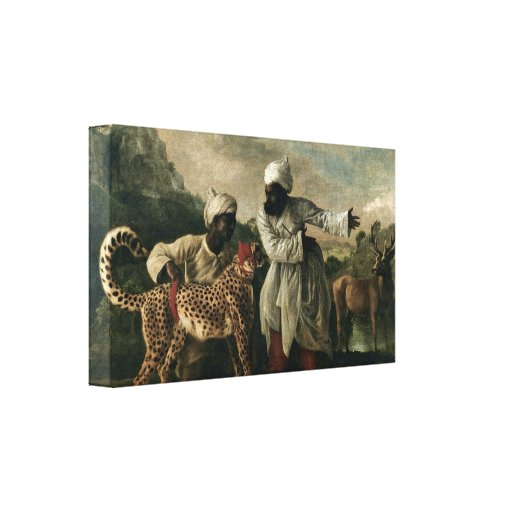 George Stubbs - Cheetah with two Indian servants Canvas Print