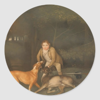 George Stubbs- Freeman With a Dying Doe and Hound Round Stickers