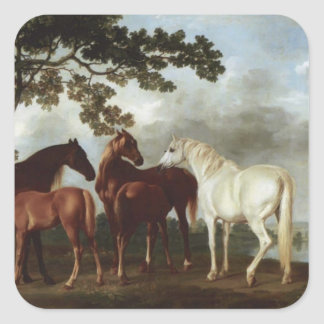 George Stubbs-Mares and Foals in a River Landscape Square Sticker