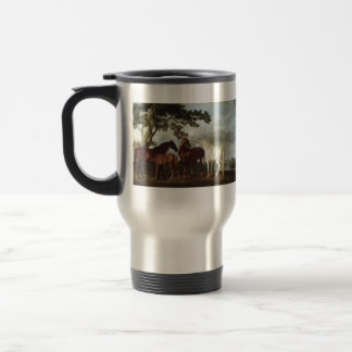 George Stubbs-Mares and Foals in a River Landscape Travel Mug