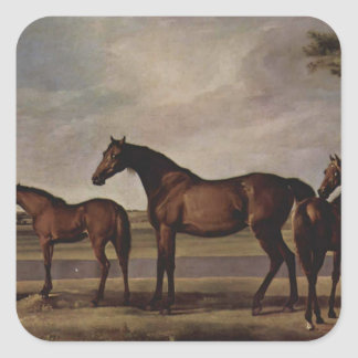 George Stubbs-Mares,foals before a looming storm Square Sticker