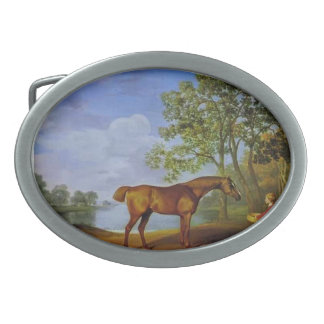 George Stubbs- Pumpkin with a Stable Lad Oval Belt Buckle