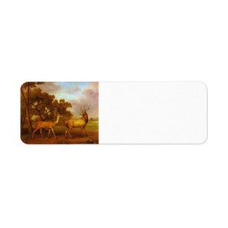 George Stubbs- Red Deer Stag and Hind Label