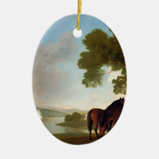 George Stubbs- Two Bay Mares And a Grey Pony Ornaments