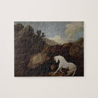 George Stubbs- un caballo asustado por un león Puzzles Con Fotos
