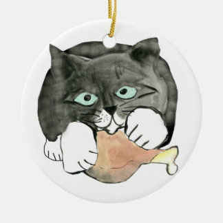 George, the Cat, Has made Off with a Chicken leg Ceramic Ornament
