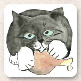 George the Cat Has made Off with a Chicken leg Coaster