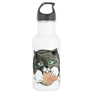 George, the Cat, Has made Off with a Chicken leg 18oz Water Bottle
