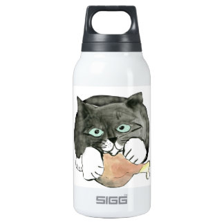 George, the Cat, Has made Off with a Chicken leg 10 Oz Insulated SIGG Thermos Water Bottle