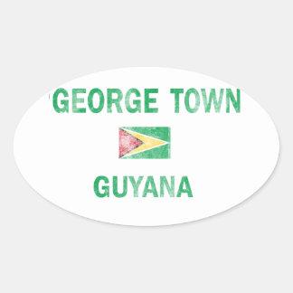 George Town Guyana Designs Oval Sticker