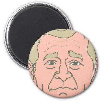 George W. Bush Cartoon Face 2 Inch Round Magnet
