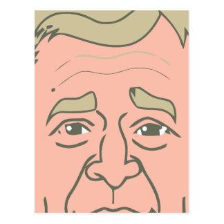 George W. Bush Cartoon Face Postcard