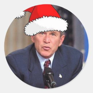 George W. Bush Christmas Humor Classic Round Sticker