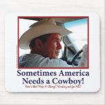 George W Bush en gorra de vaquero Tapetes De Ratones