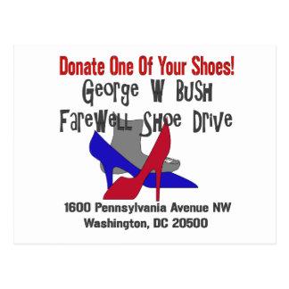 George W Bush Farewell Shoe Drive Postcard