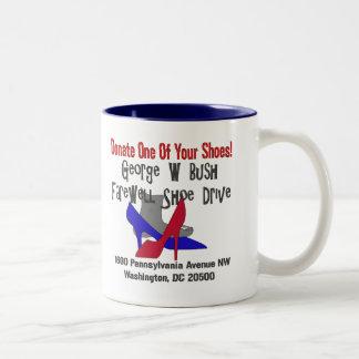 George W Bush Farewell Shoe Drive Two-Tone Coffee Mug