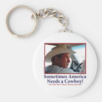George W Bush in Cowboy Hat Keychain