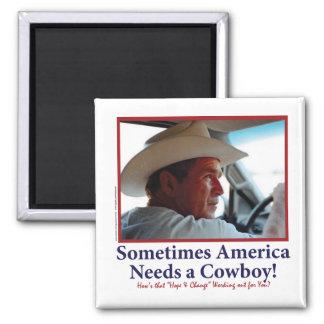 George W Bush in Cowboy Hat 2 Inch Square Magnet
