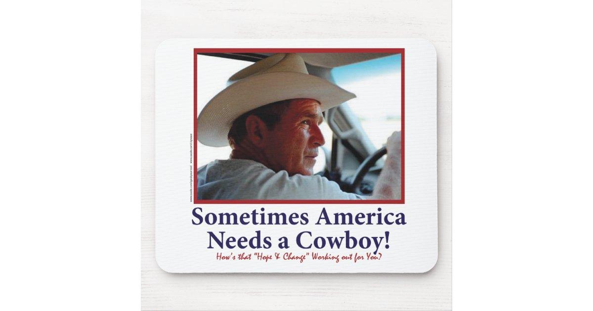 George W Bush In Cowboy Hat Mouse Pad Zazzle Com