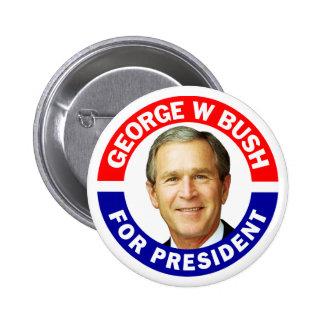 George W Bush para el presidente Pin Redondo De 2 Pulgadas