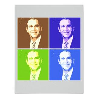 George W Bush Pop Art 4.25x5.5 Paper Invitation Card