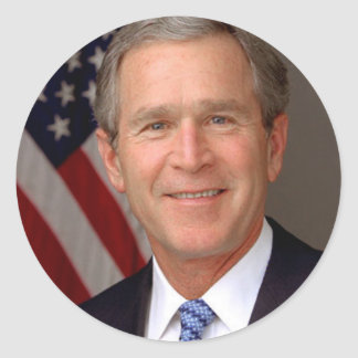 George W Bush Round Stickers