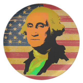 George Washington American Flag Melamine Plate