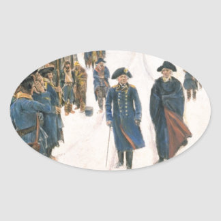 George Washington and Baron von Steuben Oval Sticker