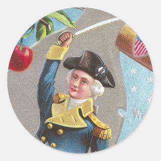 George Washington and Cherries Classic Round Sticker