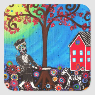 GEORGE WASHINGTON AND DOG DAY OF THE DEAD PAINTING SQUARE STICKER