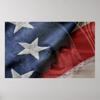 George Washington and flag composite Poster
