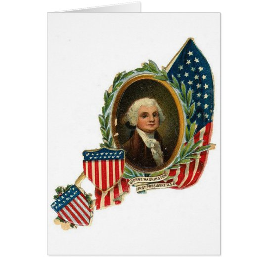 George Washington and Flags Card