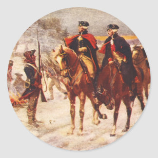 George Washington and Lafayette at Valley Forge Classic Round Sticker