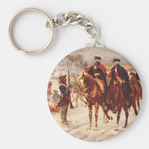George Washington and Lafayette at Valley Forge Basic Round Button Keychain