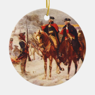 George Washington and Lafayette at Valley Forge Double-Sided Ceramic Round Christmas Ornament