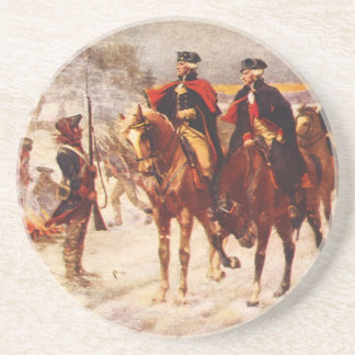 George Washington and Lafayette at Valley Forge Sandstone Coaster