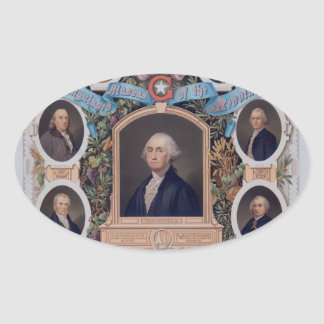 George Washington and The Masons Of The Revolution Oval Stickers