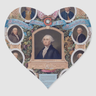 George Washington and The Masons Of The Revolution Heart Stickers
