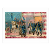 George Washington and Troops Vintage Postcard